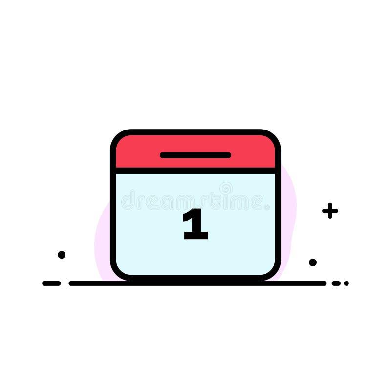 Il calendario, data, mese, linea piana di affari del giorno ha riempito il modello dell'insegna di vettore dell'icona illustrazione vettoriale