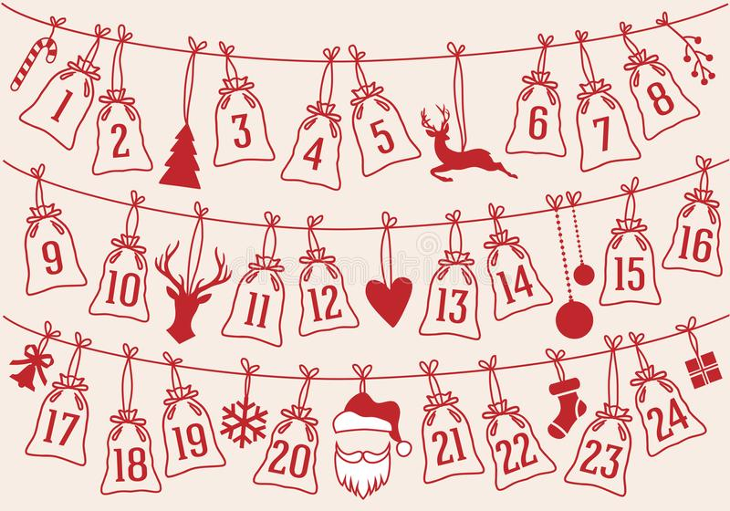 Il calendario di arrivo con il Natale insacca, insieme di vettore illustrazione di stock