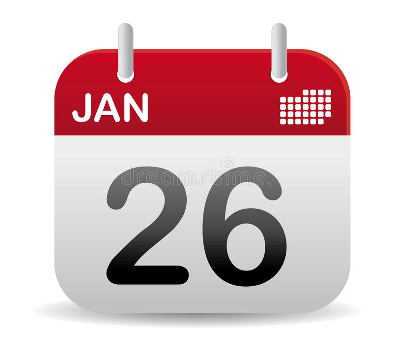 Il calendario di gennaio si leva in piedi in su illustrazione vettoriale