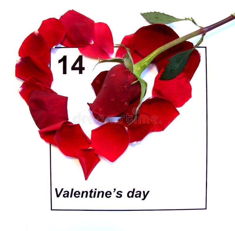 Il calendario di giorno dei biglietti di S. Valentino con colore rosso è aumentato fotografia stock libera da diritti