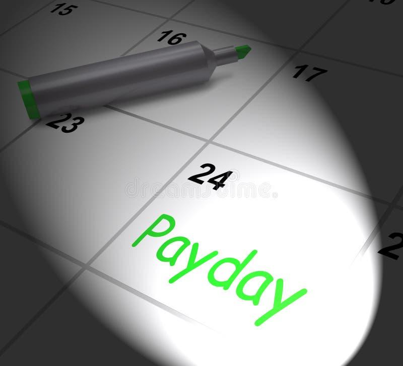 Il calendario di giorno di paga visualizza lo stipendio o gli stipendi per occupazione illustrazione vettoriale