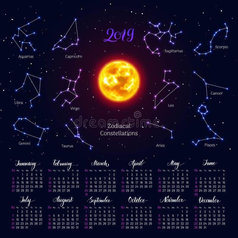 Il calendario, sole, zodiaco firma, 2019, fondo del cielo notturno, segnante illustrazione di stock
