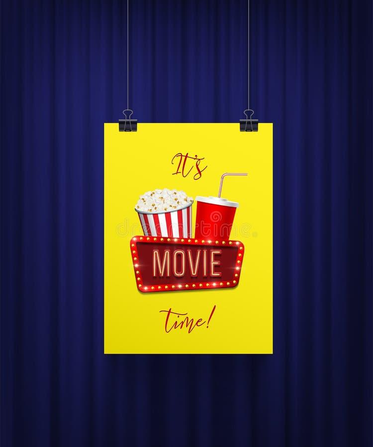 Il calibre de bannière de vecteur heure de projection du film du ` s L'affiche avec le panier de maïs de bruit, la tasse de kola  illustration libre de droits