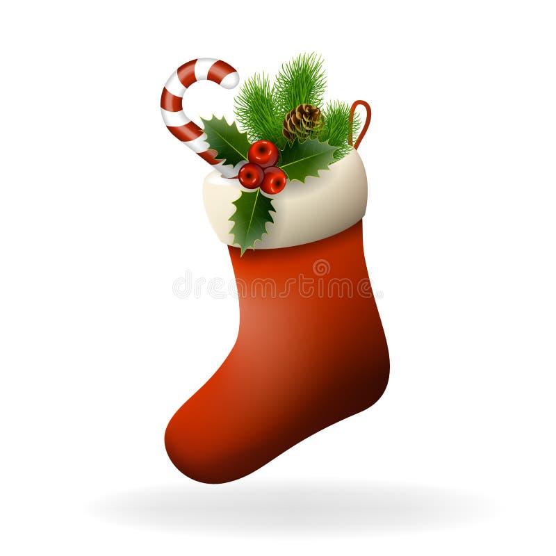 Il calzino rosso di Natale con le bacche dell'agrifoglio, la caramella e l'abete si ramificano. Xma royalty illustrazione gratis