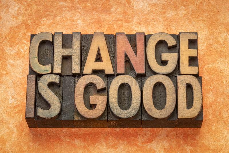 Il cambiamento è estratto di buona parola nel tipo di legno fotografia stock