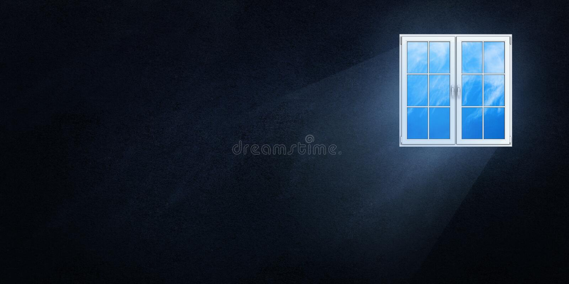 Il cambiamento continuo leggero attraverso la finestra su un fondo scuro illustrazione di stock