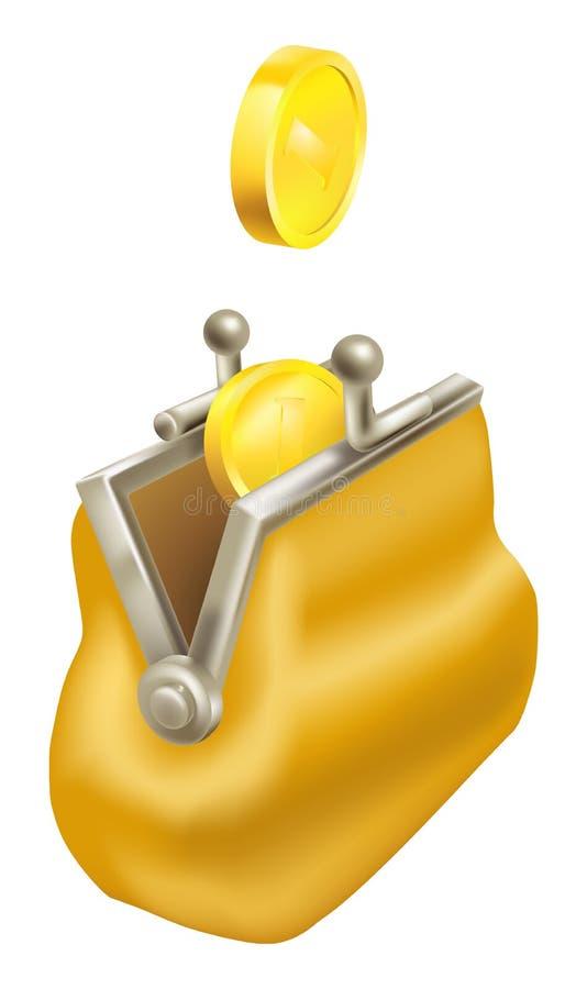 Il cambiamento dell'oro conia cadere in una borsa illustrazione di stock
