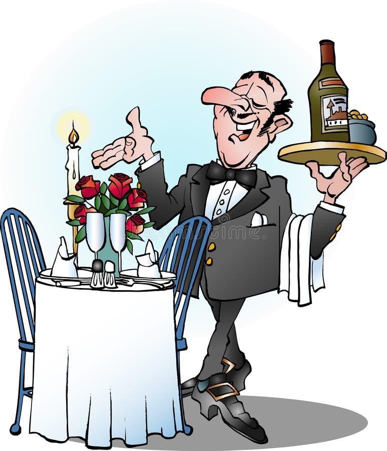 Il cameriere invita per presentare illustrazione di stock