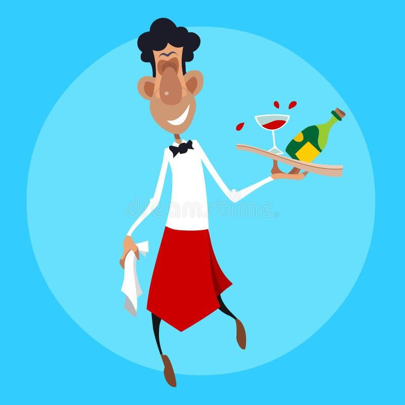 Il cameriere sorridente del fumetto cammina con un vassoio in sua mano illustrazione di stock