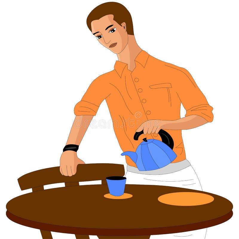 Il cameriere versa il tè royalty illustrazione gratis