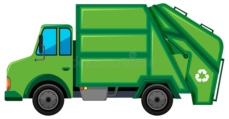 Il camion dei rifiuti con ricicla il segno royalty illustrazione gratis
