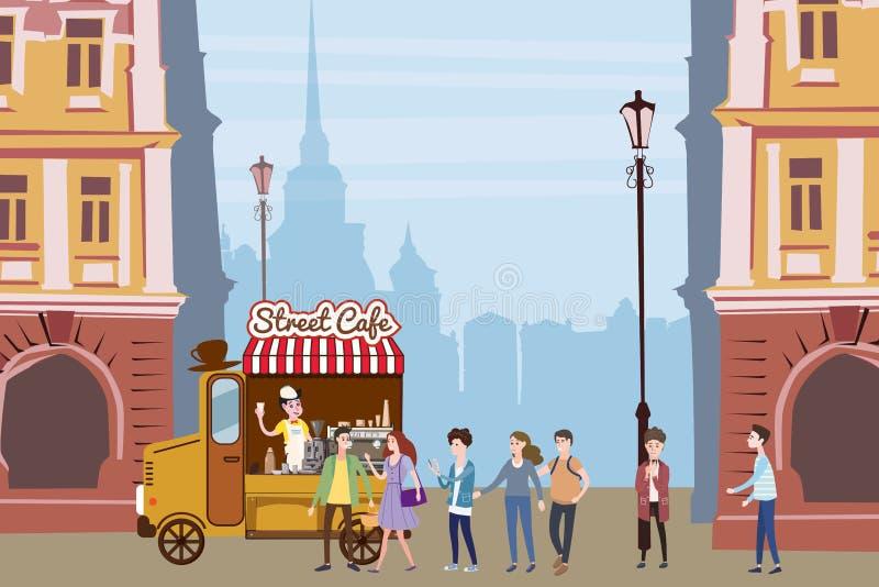 Il camion del caffè, barista, ha colorato la composizione all'aperto nella caffetteria, città, con i compratori che stanno nella  royalty illustrazione gratis
