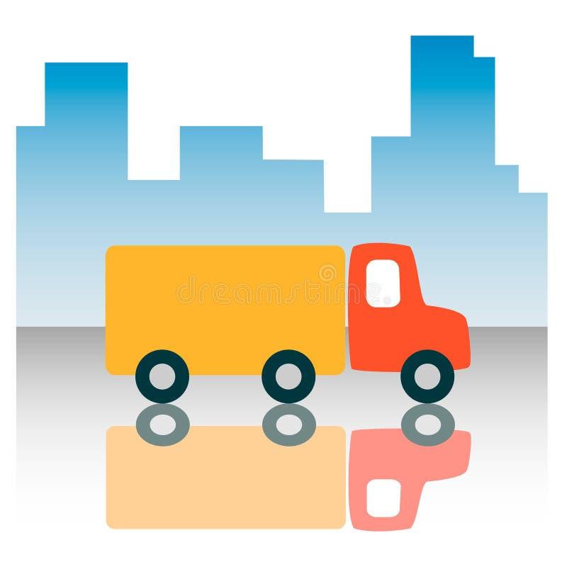 Il camion del camion sui precedenti dei grattacieli urbani guida su una strada bagnata ed è riflesso Stile semplice piano dell'ic illustrazione di stock