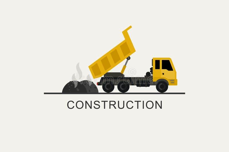 Il camion della costruzione scarica l'asfalto royalty illustrazione gratis