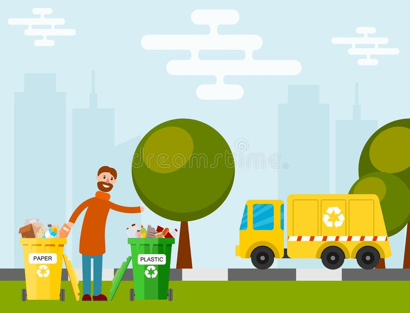 Il camion della fabbrica di processo dell'immondizia di riciclaggio dei rifiuti ha portato la produzione manifatturiera elaborata illustrazione di stock
