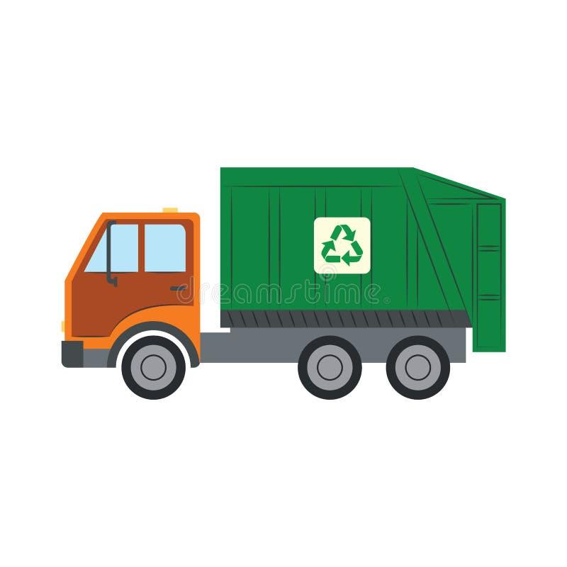 Il camion di rifiuti con ricicla il simbolo - veicolo verde del camion per il montaggio ed il trasporto di immondizia nello stile royalty illustrazione gratis