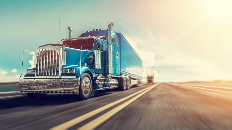 Il camion funziona sulla strada principale illustrazione vettoriale