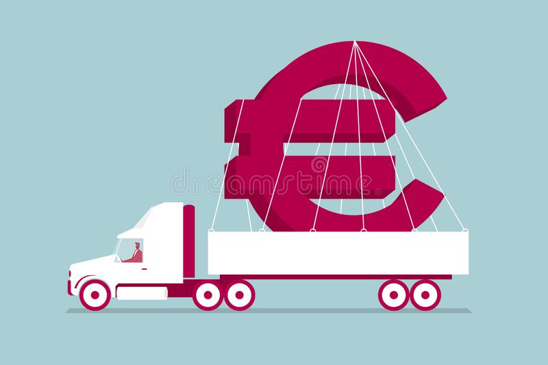 Il camion trasporta l'euro simbolo royalty illustrazione gratis