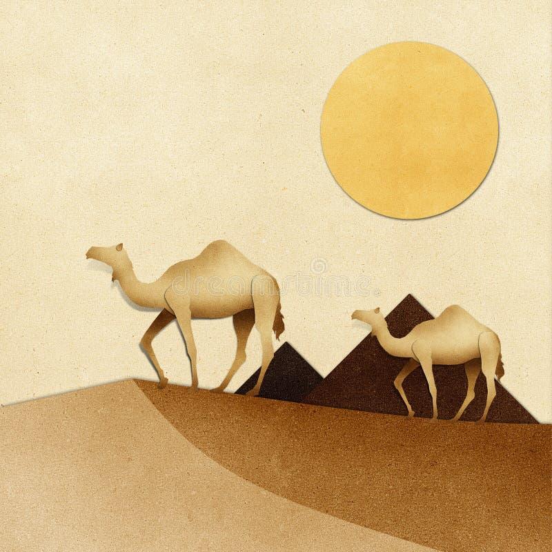 Il cammello e la piramide sul deserto hanno riciclato il mestiere di carta illustrazione vettoriale