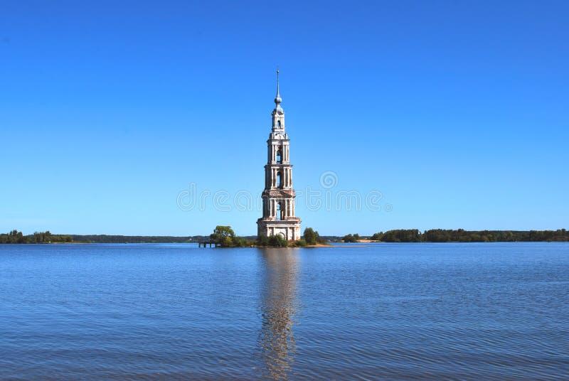 Il campanile sommerso in Kalyazin immagine stock libera da diritti