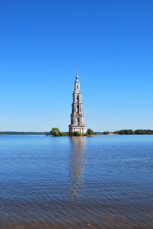 Il campanile sommerso in Kalyazin fotografia stock libera da diritti