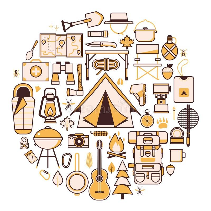 Il campeggio e fare un'escursione le icone di smania dei viaggi stampano il modello illustrazione di stock
