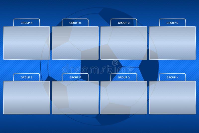 Il campionato di calcio raggruppa lo schema Sostegno del gruppo di torneo di calcio a fondo blu con la palla illustrazione vettoriale