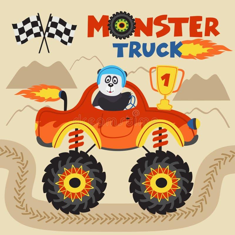 Il campione del panda sta guidando il camion di mostro illustrazione di stock
