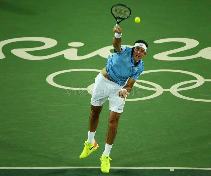 Il campione Juan Martin Del Porto del Grande Slam dell'Argentina nell'azione durante il ` s degli uomini sceglie la prima partita immagini stock libere da diritti