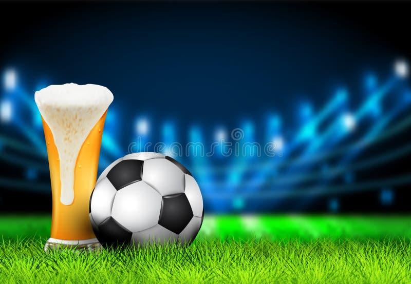 Il campo dell'arena di calcio con le luci luminose dello stadio progetta Pallone da calcio 3D e vetro realistici di birra sullo s illustrazione vettoriale