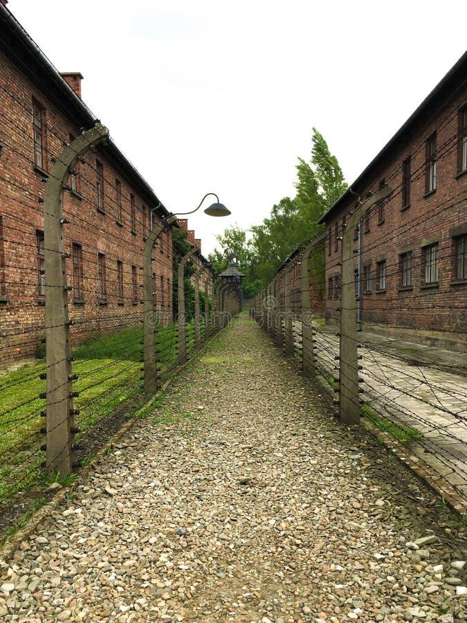 Il campo di concentramento di Auschwitz con sparisce il punto fotografie stock