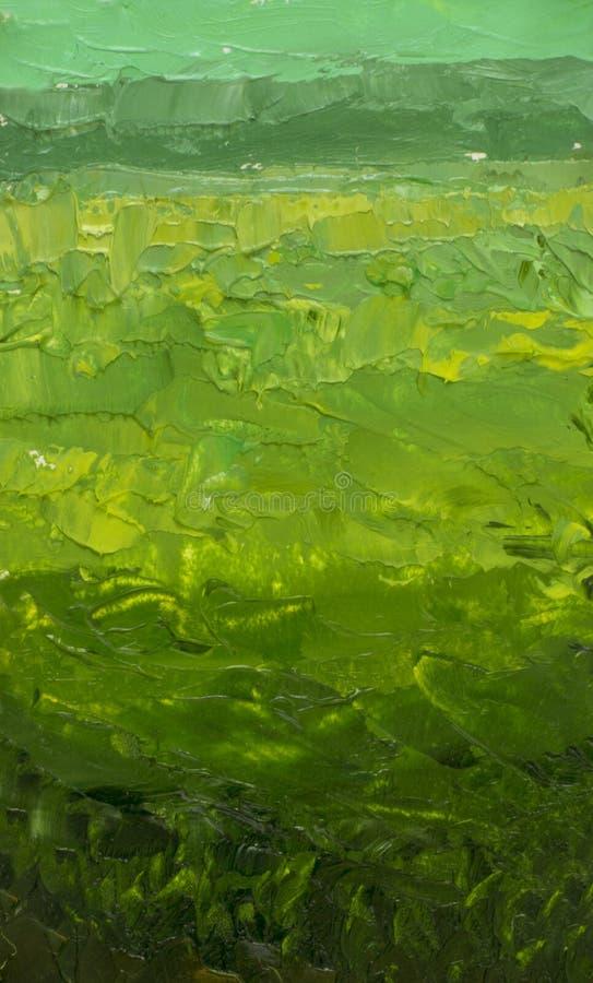 Il campo verde è una pittura a olio astratta Campo verde di pendenza, fondo dell'erba, fienarola dei prati di estate illustrazione vettoriale