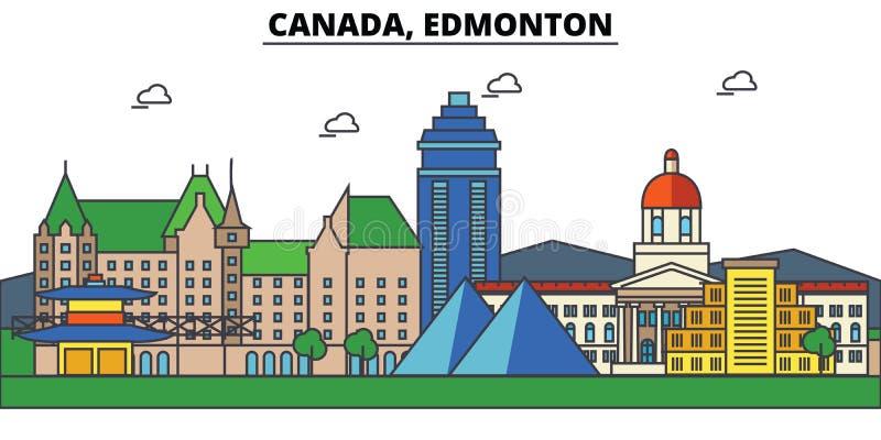 Il Canada, Edmonton Architettura dell'orizzonte della città editabile illustrazione vettoriale