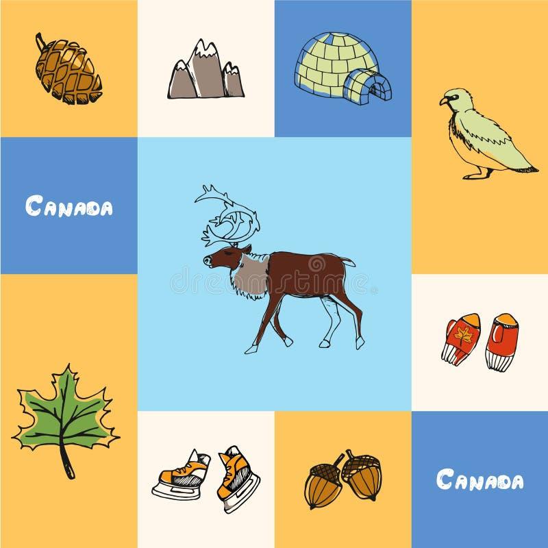 Il Canada ha quadrato il concetto variopinto con gli scarabocchi royalty illustrazione gratis