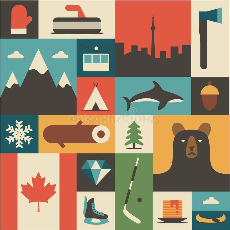 Il Canada, illustrazione piana di vettore, insieme dell'icona, fondo fotografie stock libere da diritti