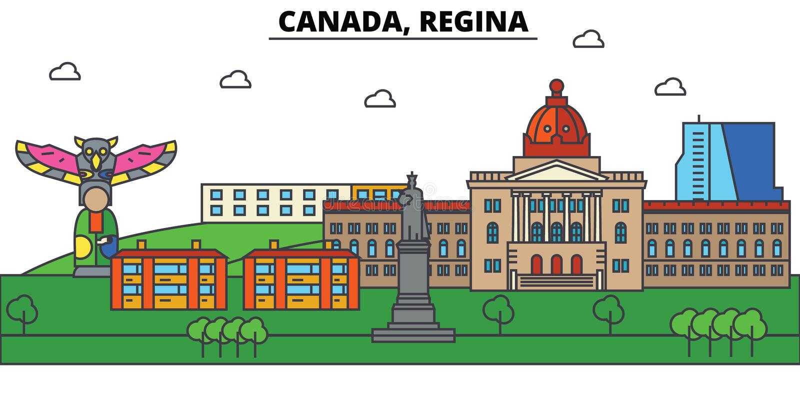 Il Canada, Regina Architettura dell'orizzonte della città editabile illustrazione di stock