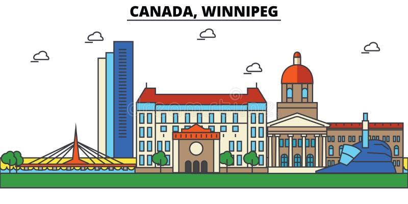 Il Canada, Winnipeg Architettura dell'orizzonte della città illustrazione vettoriale
