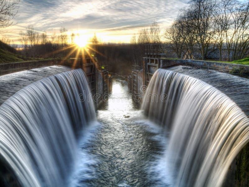 Il canale della Castiglia chiude nella provincia di Palencia, Spagna fotografia stock libera da diritti