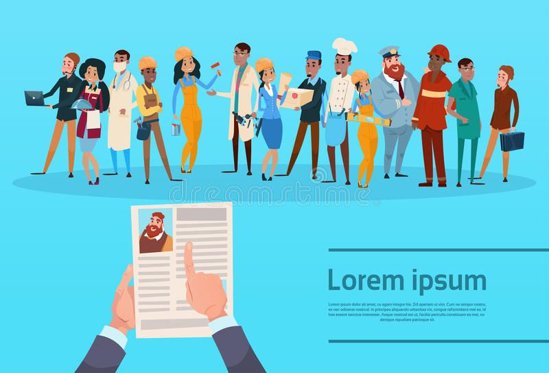Il candidato Job Position, profilo di assunzione di curriculum vitae del cv della tenuta delle mani sceglie l'occupazione differe illustrazione vettoriale