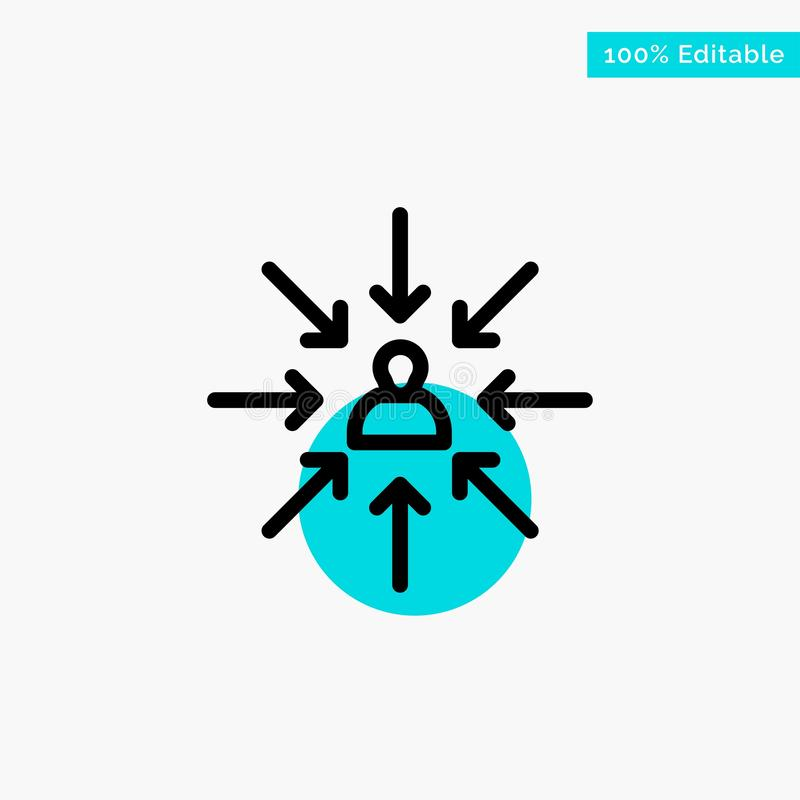 Il candidato, scelta, sceglie, mette a fuoco, icona di vettore del punto del cerchio di punto culminante del turchese di selezion illustrazione vettoriale