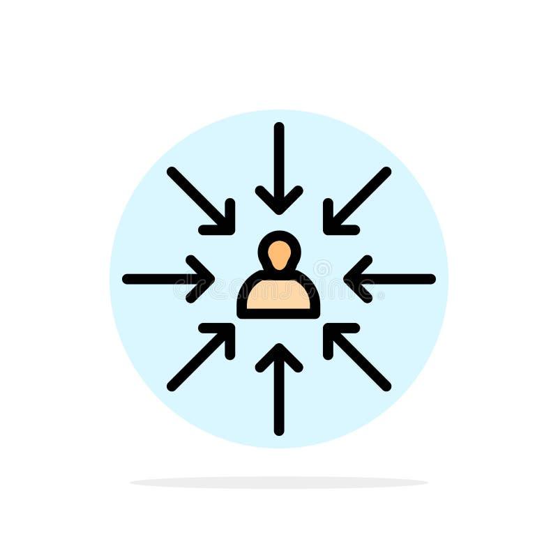 Il candidato, scelta, sceglie, mette a fuoco, icona piana di colore del fondo del cerchio dell'estratto di selezione illustrazione vettoriale