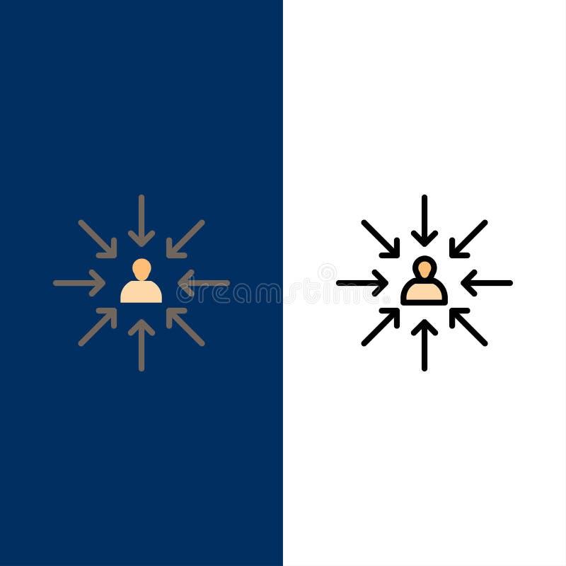 Il candidato, scelta, sceglie, mette a fuoco, icone di selezione Il piano e la linea icona riempita hanno messo il fondo blu di v illustrazione vettoriale