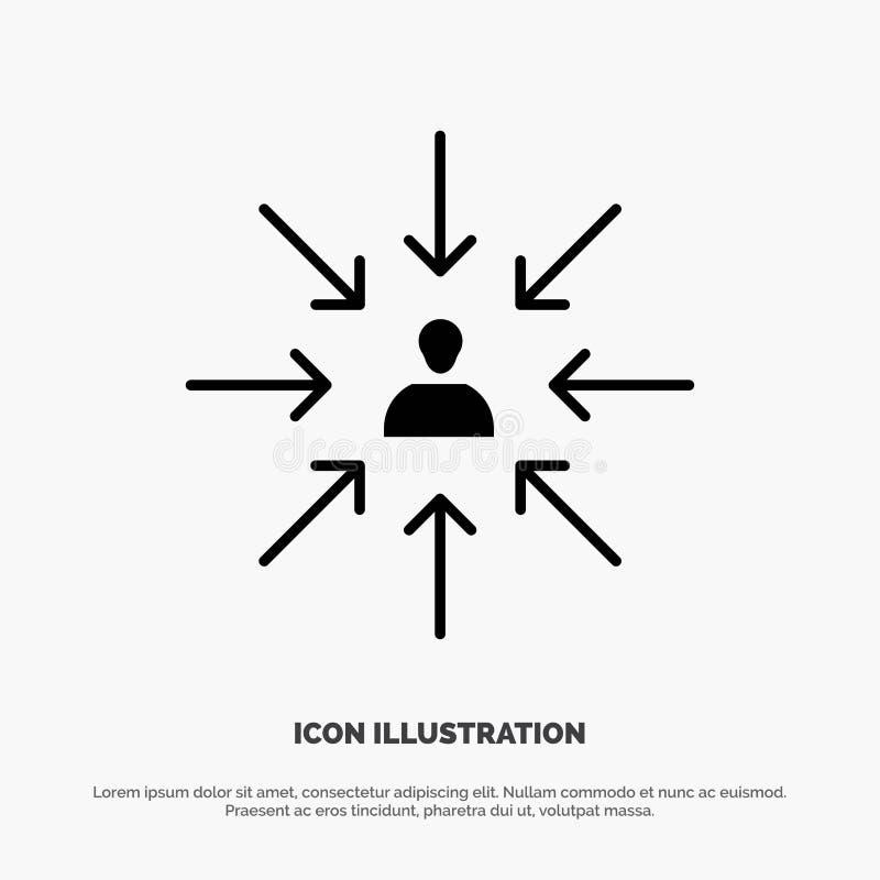 Il candidato, scelta, sceglie, mette a fuoco, vettore solido dell'icona di glifo di selezione illustrazione vettoriale