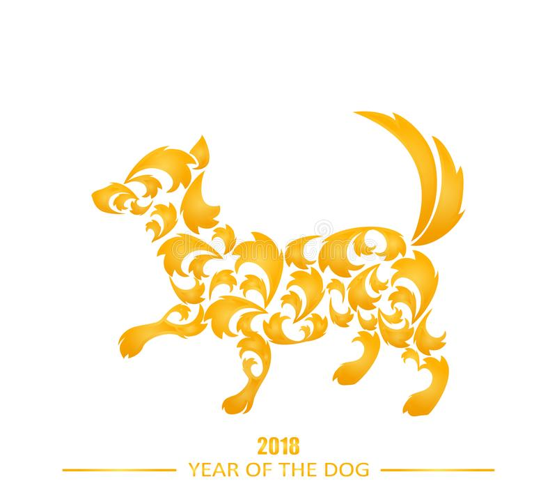 Il cane è il simbolo del nuovo anno cinese 2018 illustrazione vettoriale