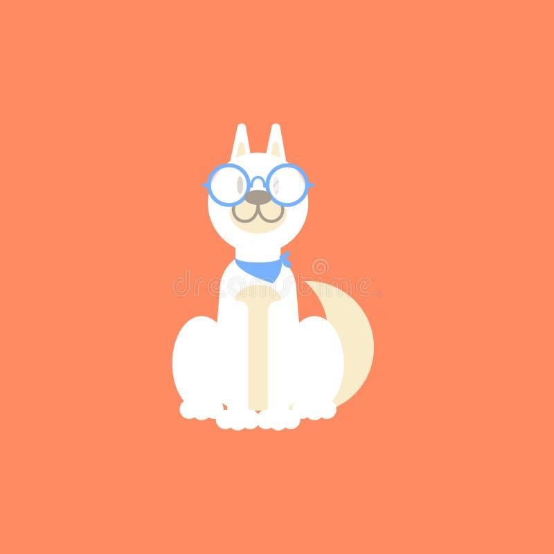 Il cane bianco del husky con i vetri illustrazione di stock