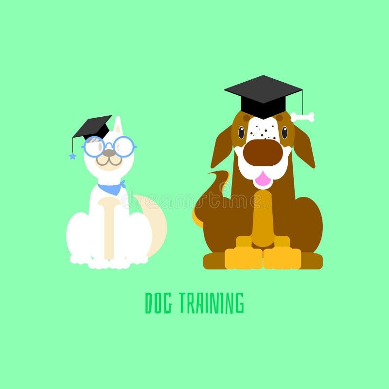 Il cane bianco del husky siberiano della scuola di formazione con i vetri e St Bernard con il mortaio imbarcano nel fondo verde illustrazione vettoriale