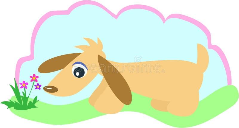 Il cane cammina in giardino illustrazione vettoriale