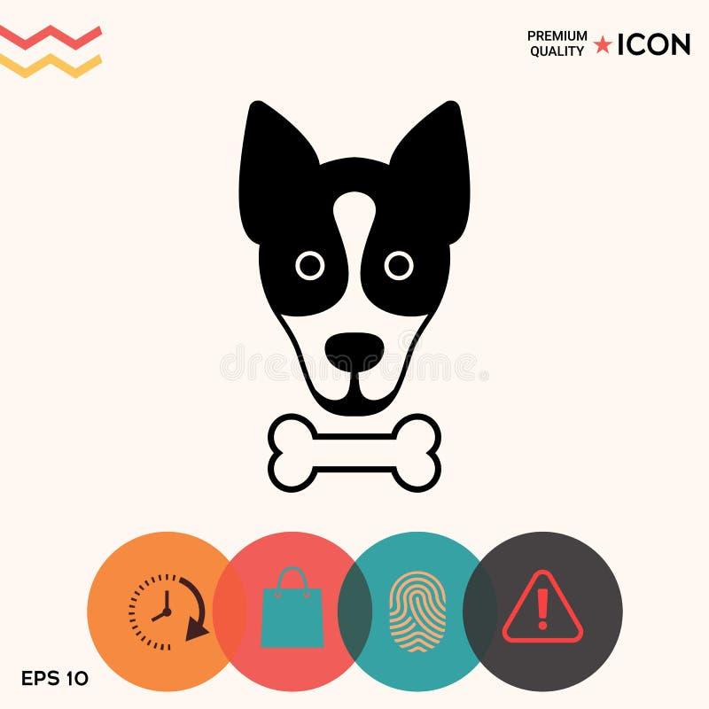 Il cane con il logo dell'osso, simbolo, protegge il segno, icona Pasti per l'animale domestico illustrazione vettoriale