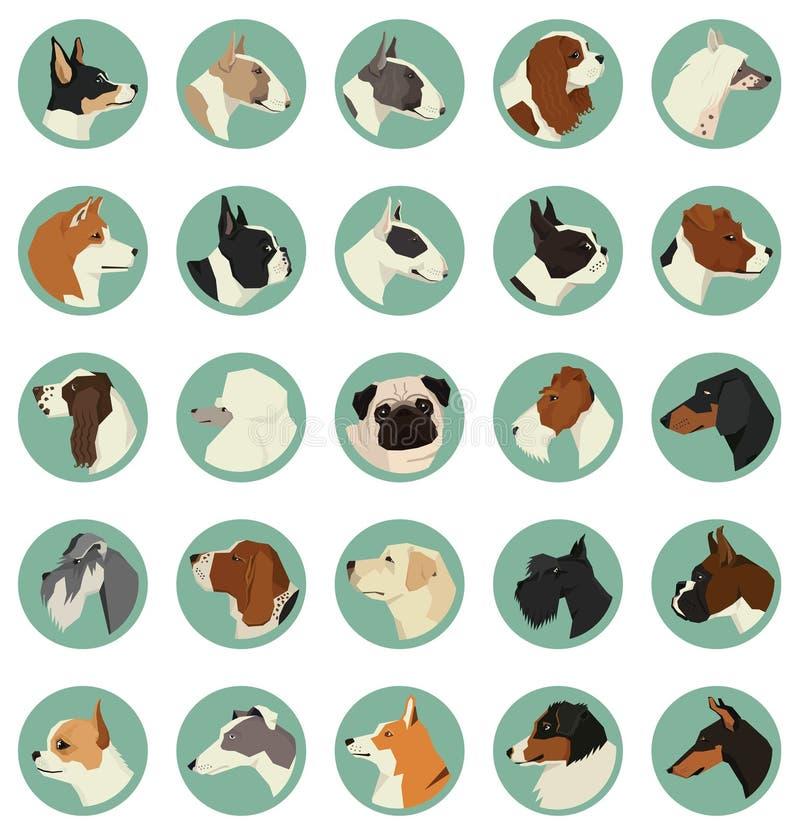 Il cane cresce un insieme di vettore degli avatar di 25 telai rotondi royalty illustrazione gratis