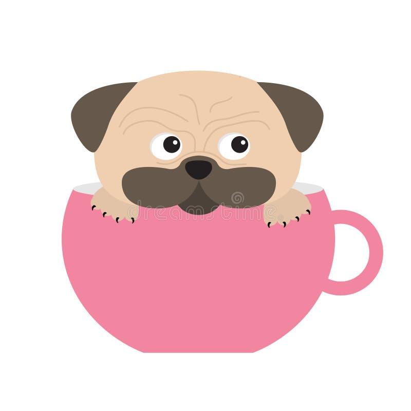 Il cane del carlino passa lo straccio sulla zampa che si siede in grande tazza rosa Personaggio dei cartoni animati sveglio Proge royalty illustrazione gratis